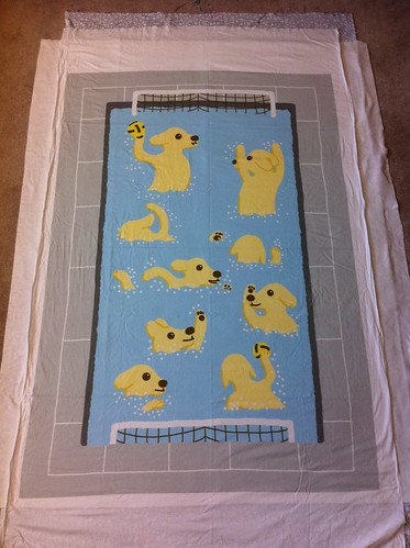 Waterpolo puppies quilt laid out for basting