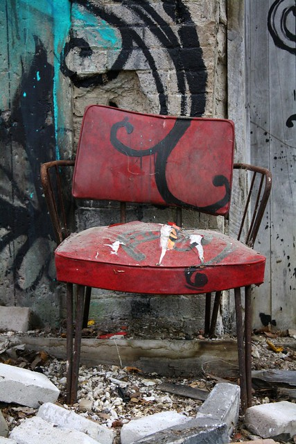 ...and a red leather chair have been incorporated into the mural...