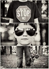 ~289/365~ Unstoppable (DocUNC) Tags: boy portrait cute sunglasses canon kid cool triptych child hand sweet bokeh pad tshirt naturallight ironman shades jeans stop hero superhero childrens 5d 365 rayban filmstrip hss project365 flickrelite 289365 docunc flickria