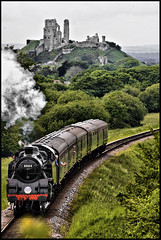 Corfe Castle & Swaage Railway (JKmedia) Tags: uk england castle history train countryside track br smoke south ruin engine puff railway steam southern dorset driver corfe relic 80104 canoneos40d jkmedia thepinnaclehof swaage tphofweek122