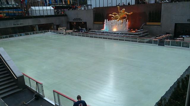 Skating rink being prepped at Rockefeller Center