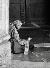 Alone . . . (Astrid Photography.) Tags: summer people woman building church valencia spain sad cathedral beggar beg cathedralbasilica cathedralofvalencia astridphotography