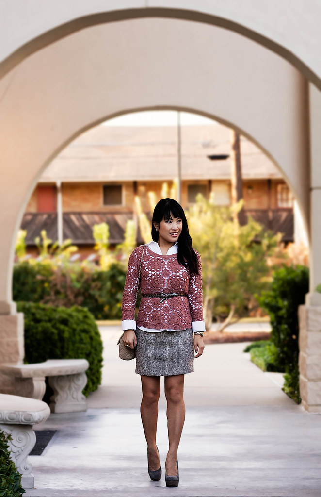 banana republic white button down shirt, forever 21 crochet top, bb dakota groton tweed skirt, ann taylor leopard skinny belt, steve madden caryssa pumps, michael kors rose gold small runway watch mk5430, yesstyle quilted beige purse, romwe street style gem arty ring