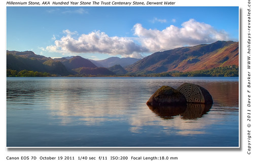 Millennium Stone, AKA  Hundred Year Stone The Trust Centenary Stone, Derwent Water