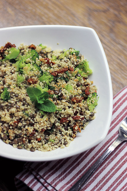Lentils, Broccoli and Sun dried tomatoes Couscous