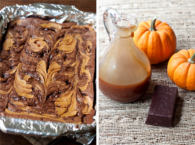 Caramel-Pumpkin Swirl Brownies