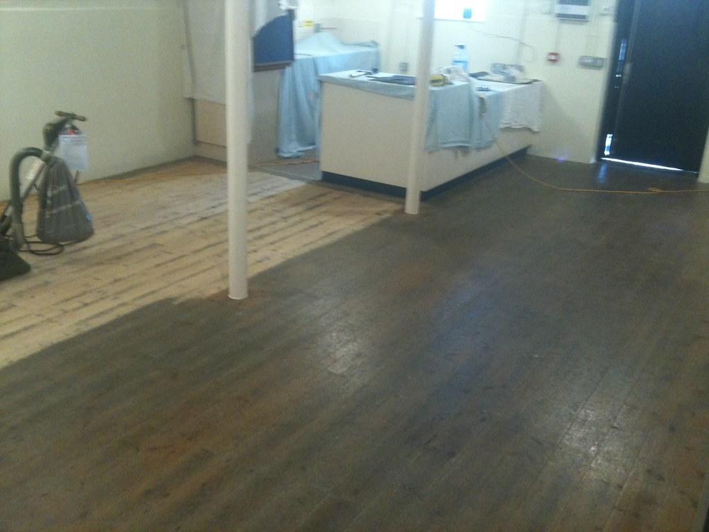 Cafe floor sanding