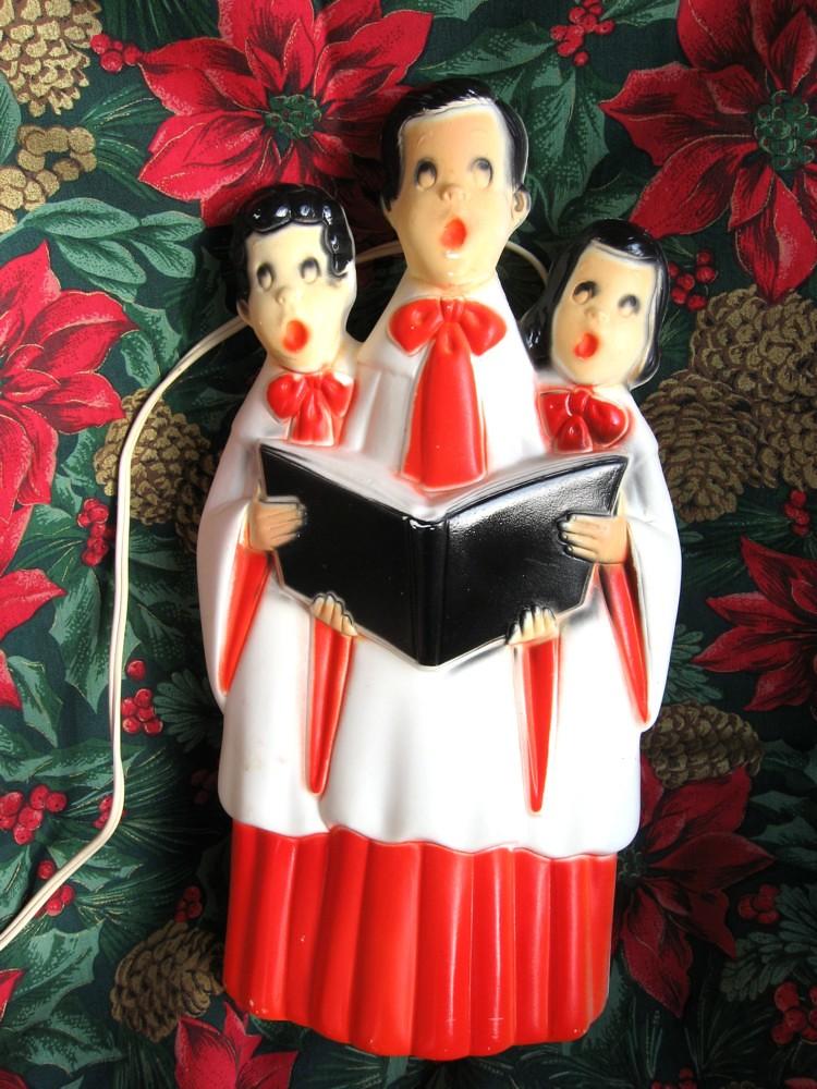 Blow Mold Vintage Lighted Choir Carolers Plastic Decoration Empire