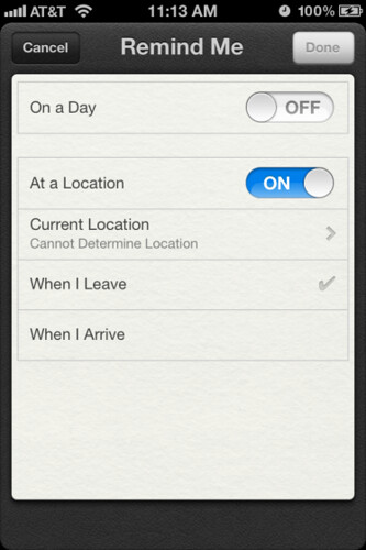 iOS 5:  Location-Based Reminders