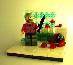 Psycho Movie Scene (MandaBW) Tags: halloween bowie lego knife spooky psycho brickwarriors