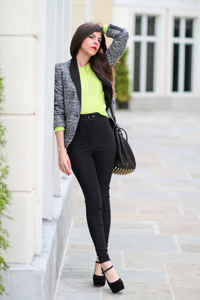 Zara blazer, Marni platforms, Fashion outfit, American Apparel riding pants, Neon Yellow Sweater