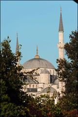 blue mosque long shot (turkishraf) Tags: life history turkey landscape asia europe commerce islam religion turkiye culture istanbul tolerance cobbles trams bosphorus thy sultanahmetcami turkishpeople bogaz marmaray devlet