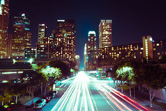 Downtown Los Angeles (In my entirety) Tags: street cars night canon buildings la losangeles long exposure nightlights crossprocess kitlens lightup lighttrails 1855mm efs channel luminance xsi dualtone trailing f3556