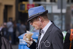 Wired (Frank Fullard) Tags: street nyc blue portrait music usa ny newyork coffee hat us manhattan candid cia bowtie listening spy fbi listener braid dickiebow fullard frankfullard wiref