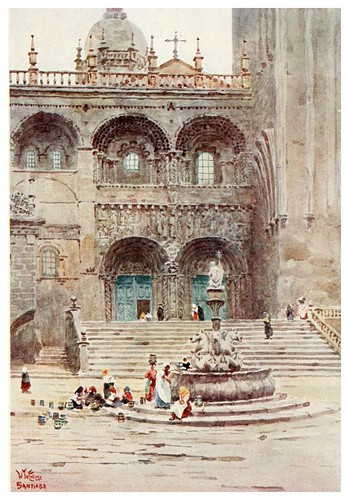 008-Catedral de Santiago puerta sur-Cathedral cities of Spain 1909- William Wiehe Collins