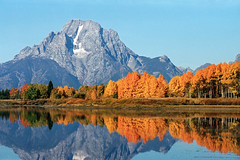 Oxbow Bend (bhophotos) Tags: travel autumn usa mountains reflection fall film nature water colors landscape geotagged golden pond nikon day f100 clear valley fujifilm wyoming aspen tetons jacksonhole grandtetonnationalpark gtnp oxbowbend mtmoran 2485mmf284d fujicolorsuperiareala projectweather bruceoakley pwfall