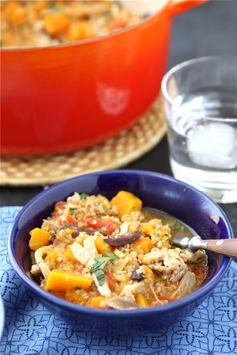 A hearty chicken stew made with butternut squash and quinoa - it's the perfect weeknight meal to keep you warm and cozy this season