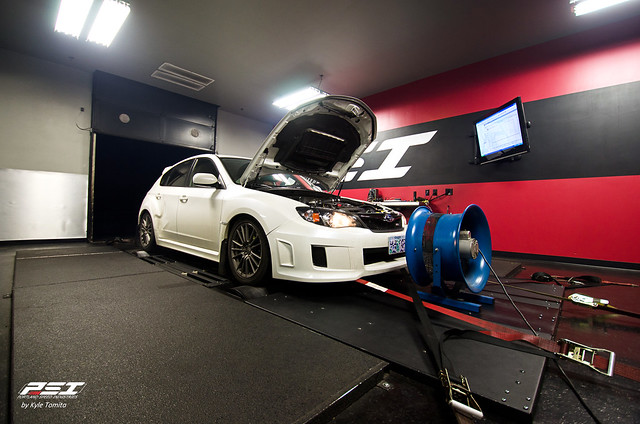 White Subaru WRX on the dyno at PSI
