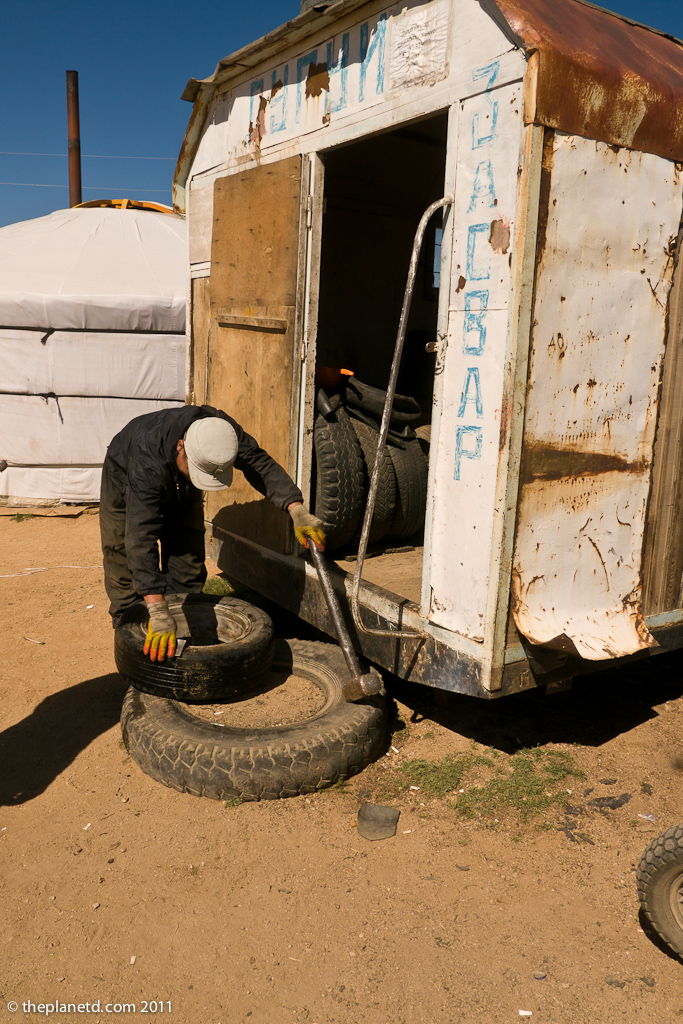 Changing Tires in Mongolia