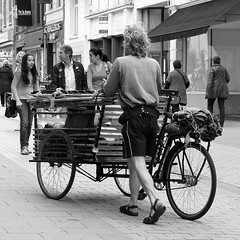 on yer bike ! (japanese forms) Tags: bw man monochrome bike bicycle youth square diy random sandals candid tricycle belgi streetlife bamboo traveller homemade squareformat shorts ecological lurkation vlaanderen livingrough onyerbike normantebbit lurkatron sonynex5 japaneseforms2011