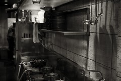 work, short order cook (StephenCairns) Tags: blackandwhite bw kitchen japan night work restaurant cook   gifu shortordercook   30mmsigmaf14 canon50d  50dcanon cookinguntensils