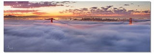 Golden Gate Bridge Fog Panorama, San Francisco, CA