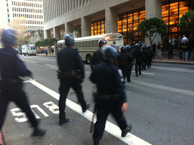 #sfsheriff bus arrives @sfpd cross street #occupycal #occupysf #ows