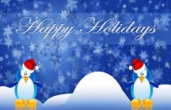 Happy Penguin Holidays Wallpaper (chiaralily) Tags: snowflake christmas xmas winter wallpaper snow illustration photoshop festive season fun happy penguin cool holidays bokeh digitalart australia melbourne victoria card creativecommons linux santahat celebrate tutorial abduzeedo chiaralily ravensyr