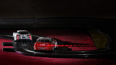 Cornering (Flxzr) Tags: red honda accord lights flash racing scalextric slotcars strobist