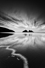 Dancing Clouds  [EXPLORED] (Martin Mattocks (mjm383)) Tags: longexposure sunset sky blackandwhite bw seascape reflection water silhouette clouds canon mono cornwall explore tideline holywellbay leefilters cornwalllandscapes mjm383 martinmattocksphotography