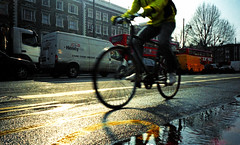 Bike/Water (Dominica69) Tags: street london cars film water buses bike 35mm analogue ricoh brixton gr1v agfavista400 c42