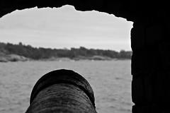 Cannon (purkka) Tags: ocean old sea blackandwhite finland war spooky cannon fortress