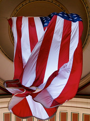 American Flag at the Boston Harbor Hotel (sneL yM hguorhT) Tags: usa boston america americanflag patriotic patriotism waving bostonharborhotel