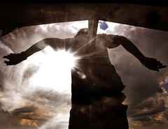 In The Name Of The Father. (Tomasito.!) Tags: light sun art silhouette clouds artwork nikon asia god father philippines religion surreal flare drama powerful d90