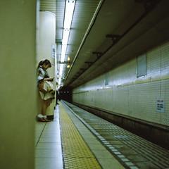 Subway (Sakulchai Sikitikul) Tags: street 120 tlr japan mediumformat subway tokyo loneliness dof kodak snapshot stranger depthoffield silence 160 rolleicord ektacolor