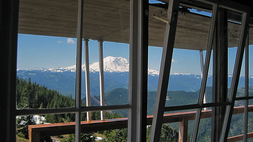A view of Mt. Rainer from the lookout. Photo by Bob Adler.