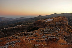 Top view (n.pantazis) Tags: sunset panorama church island twilight ruins dusk top elevation andros aegeansea highcastle korthi epanokastro