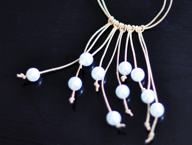 Leather and Pearl Necklace DIY - 6