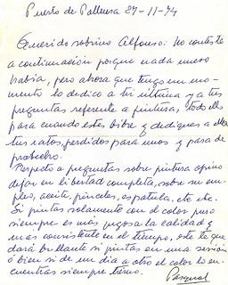 Carta de puño y letra de Pascual Roch a Alfonso Aguado Ortuño