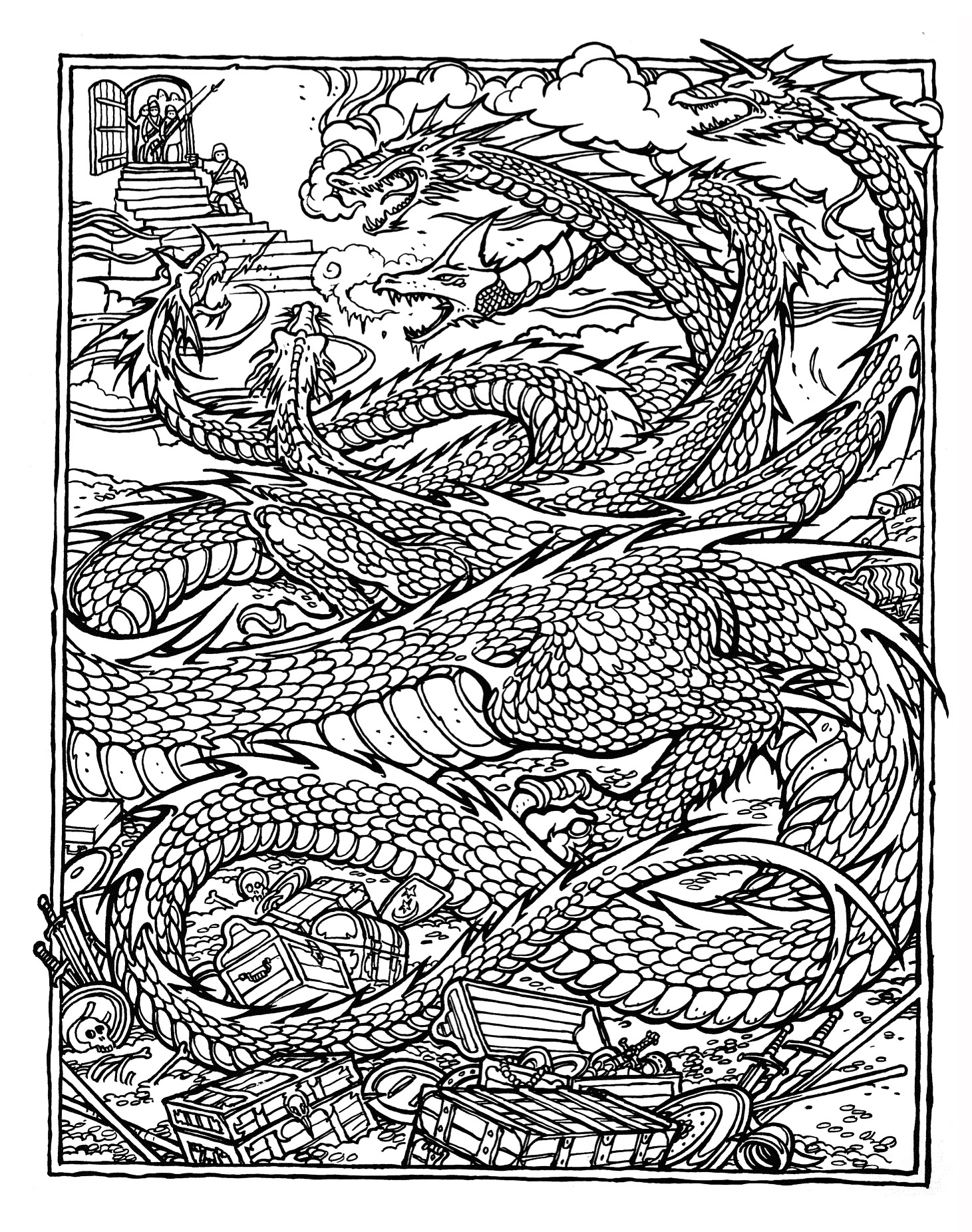 complex coloring pages of dragons - photo#24
