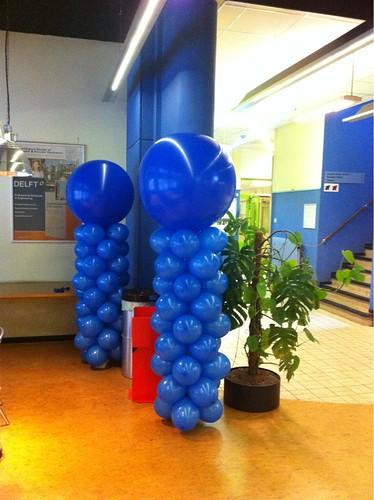 Ballonpilaar Breed Rond Royal Blue TU Delft