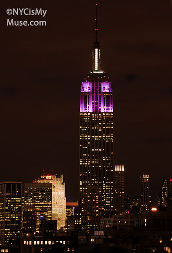 Empire State Building in Purple & White in honor of the Alzheimer's Association