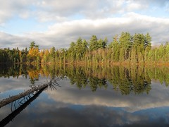 Icehouse pond (Bemep) Tags: blue autumn lake reflection green fall water yellow clouds forest river pond peaceful moose icehouse plain adirondack