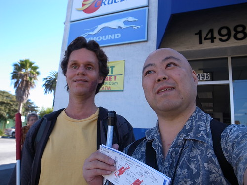 Daniel an I at Greyhound Bus Terminal in Long Beach