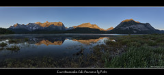Lower Kananaskis Lake Panorama (pDOTeter) Tags: reflection sunrise kananaskis nikon sigma morningmist kananaskiscountry d90 peterlougheed lowerkananaskislake nikond90 goldenmountains