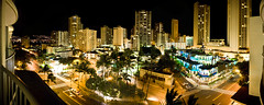 My view at the end (Ian.tks) Tags: panorama night buildings lights hawaii waikiki oahu honolulu nikon2470mm nikond700 ohanaeast