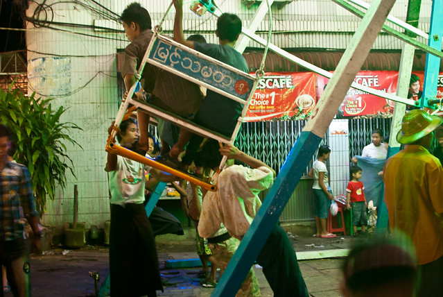 Crazy man-powered ferris wheel, thadingyut festival, yangon, myanmar