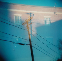 Power Lines, etc. (Kelly Marciano) Tags: fall 120 film mediumformat square holga doubleexposure plastic powerlines