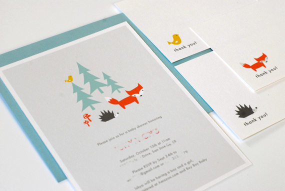 woodland shower invite