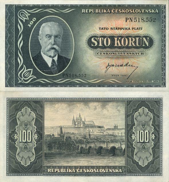 100 Kčs A Sto korún Československo 1945, Masaryk